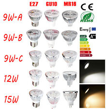 Ultra Bright 9W/12W/15W E27 GU10 MR16 LED Light Spot Globe Bulb Lamp warm cool