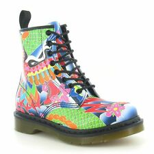 Dr Martens 1460 W Womens Psych Tattoo Print 8-Eyelet Leather Boots Multicoloured