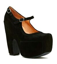 New Women's Platform Mary Jane-Jeffrey Campbell-Stunner-Black Suede-8US
