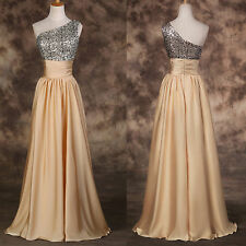 PLUS SIZE Sequined Long Wedding Homecoming Evening Gown Party Formal Prom Dress