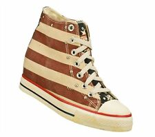Sketchers SKCH+3 American Flag Canvas Mid Top Shoes Red Stars Stripes sz 8
