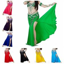 Sexy Women Professional Belly Dance Costume with Slit Modal Cotton Skirt Dress
