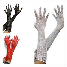 Long Sexy Length Stretch Lace BF4U Gloves - Women Hot Opear/ Black White Red