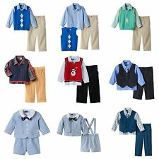 NWT Infant Toddler Boys 3-pc Great Guy Sweater Vest Shirt Tie Pants CHURCH Suit