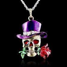 Skull Flower Fashion Retro Pendant Crystal Sweater Chain Long Necklace Jewellery