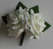Crystal Artificial Ivory Rose Double Buttonhole Corsage Wedding Flower Package