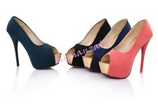 Womens Faux Suede Sandals High Heel Pumps Platform Peep Toes Shoes US 4-11 HOT