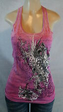 VOCAL TANK CRYSTAL FLEUR DE LIS WITH WINGS IN PINK ALL SIZES # 6983T