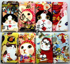 fit iPod touch 4th  itouch kitten cat kitty face hard case flower butterfly //