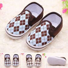 Baby Boy Kids Crib Shoe Sole Soft Anti-Slip Prewalker Toddler Pram Canvas Shoes