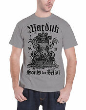 Marduk T Shirt Souls For Belial Distressed Band Logo Official Mens New Grey