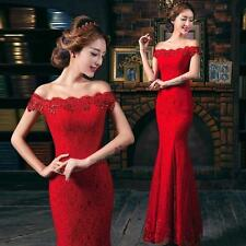 Fashion dinner party wedding bridesmaid dress Red lace formal long evening dress