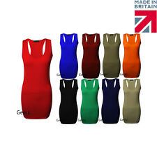 New Ladies Sleeveless Long Racer Back Bodycon Muscle Womens Top Dress 8 10 12 14