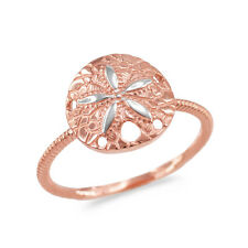 Two-Tone 14k White Gold Twisted Rope Band Sand Dollar Ring Star Sea Snapper