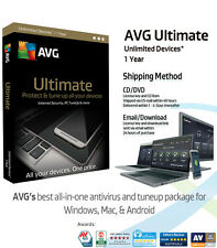 AVG ULTIMATE  - 1 Year Unlimited Devices | Anti Virus/Internet Security/Tuneup