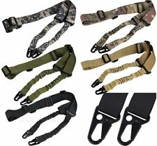 Tactical Two Point Sling Rifle Elastic Bungee Strap Snap Hook Outdoor Sports