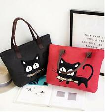 Cartoon Cat Women Cute Casual Canvas Handbag Tote Shoulder Messenger Bag Gift