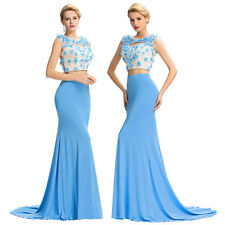 New Two Piece Cocktail Dress Long Beads Evening Pageant Prom Formal Party Gown