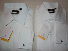 ALEXANDER DOBELL Black Label White Formal/Tux Shirt French Cuff/Pleated Cotton