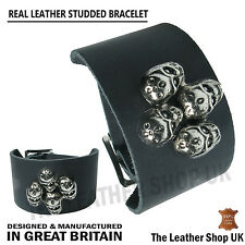 Gothic Biker Punk Strong Skull Design Leather Handmade Wristband Made In UK