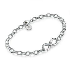 Sterling Silver Infinity Bracelet with Personalized Initial Charm-Gift for her