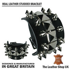 Spike Pyramid Mix Studded Gothic Punk Biker Handmade Wristband Bracelet UK Made