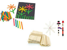 Wooden Lolly Lollypop Stick Natural Rainbow Flat Standard Size Crafts 50 to 500