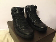 Gucci Padded Black Nylon Leather Trim High Top GG Logo Sneakers Shoes NWT