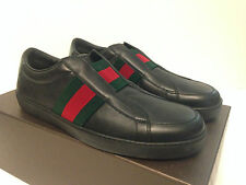 Gucci Leather Slip-On Sneaker with Signature Web Black Snakeskin Detail NEW $495