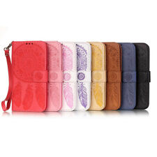 Embossed Aeolian Bells Card Wallet Stand Leather Case Cover For Huawei iPhone LG