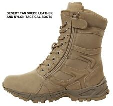 """DESERT TAN 8"""" Forced Entry Tactical BOOTS Side Zip Military SWAT Army Navy USMC"""