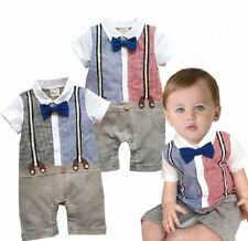 Baby Boy Wedding Tuxedo Formal Party Suit Outfit Romper Clothes NEWBORN-1/ 0-18M