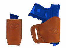 New Barsony Tan Leather Yaqui Holster + Mag Pouch for Ruger Compact 9mm 40 45