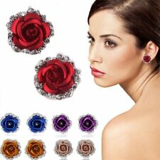 Love Women Lady Rose Flower Crystal Rhinestone Pierced Ear Stud Earrings Jewelry