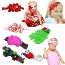 Cute Baby Kids Girl Infant Toddler Feather Headband  Flower Hair Band YM