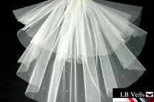 WHITE 2 TIER CRYSTAL DIAMANTE ALL OVER WEDDING BRIDAL VEIL ANY LENGTH 151 UK