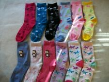 women young ladies multi color various designs crew socks size 9-11 gift for her
