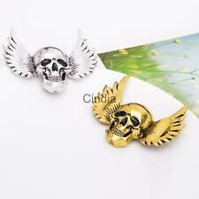 Vintage Halloween Jewelry Gothic Style Angle Wings Skull Brooch Pins Gold/Silver