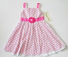 NWT Rare Too Girls 5 Pink White Floral Cutout Summer Party Dress Sundress New