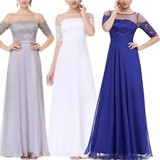 Chiffon Half Sleeve Wedding Bridesmaid Formal Gown Evening Party Prom Long Dress