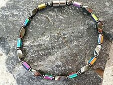 Mens Womens Necklace Anklet Bracelet Magnetic Hematite Rainbow, Disc and Twists
