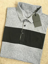 "ALL SAINTS GREY MARL ""RIORDON"" LOGO SHORT SLEEVE POLO SHIRT TOP - SMALL NEW TAGS"