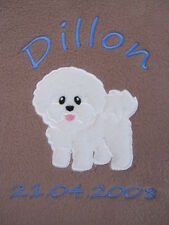Personalised Dog / Puppy Blanket - Warm & Cosy Fleece - Bichon Frise ~ Fab Gift