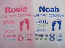Personalised Baby Blanket  Embroidered Fleece New Baby, Christening Gift Wrapped