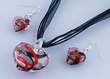 HEART NECKLACE AND EARRINGS MURANO LAMPWORK GLASS