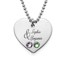 Couples Birthstone Heart Necklace with Engraving in Sterling Silver
