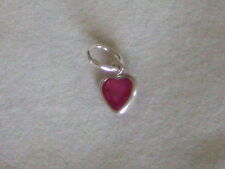 New 925 Sterling Silver Pendant Genuine Ruby Heart Gemstone Charm 6 mm