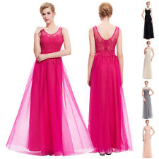 Womens Tulle Formal Evening Ball Cocktail Party Dress LACE Bridesmaid Prom Gowns