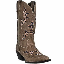 Laredo Womens Tan/Tan Crackle Goat Leather Aphfrika 13in Cowboy Boots