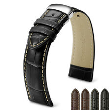 Mens Watch Strap Croco Grain Genuine Leather Silver Deployant Buckle Spring Bars